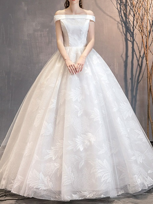 Lace Off-The-Shoulder Floor-Length Hall Wedding Dress 2020