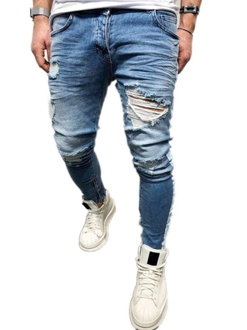 Hole Pencil Pants Zipper Men's Jeans
