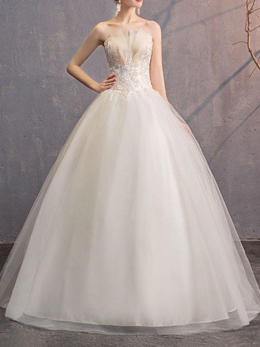 Sleeveless Strapless Floor-Length Hall Wedding Dress 2020