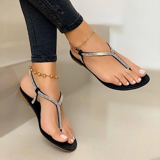 Flat With Slip-On Thong Plain Sandals