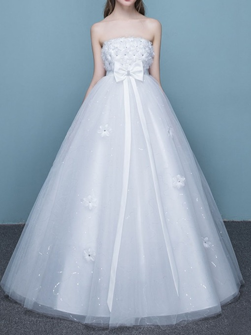 Off-The-Shoulder Bowknot Floor-Length Hall Wedding Dress 2020