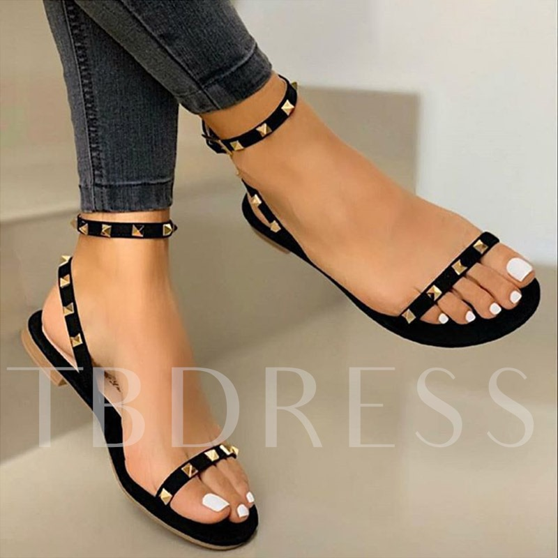 Fashion Open Toe Flat With Buckle Casual Sandals