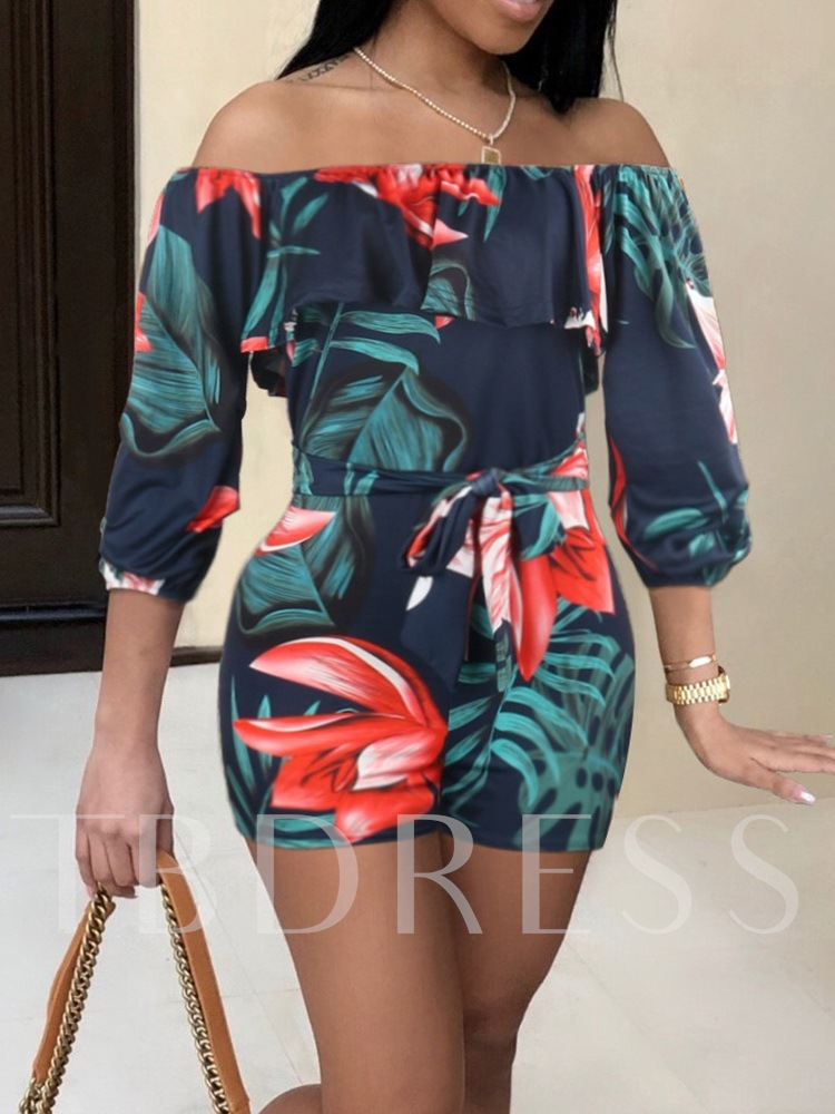 Sports Floral Shorts Print Mid Waist Women's Rompers