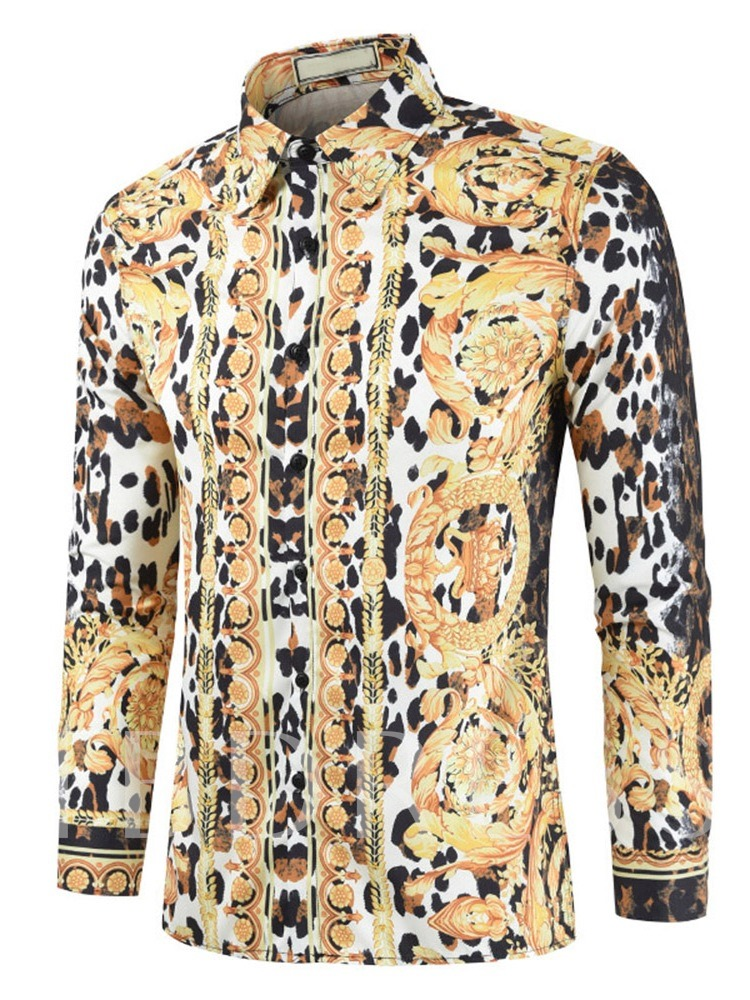 Long Sleeves Leopard Print Fall Men's Shirt