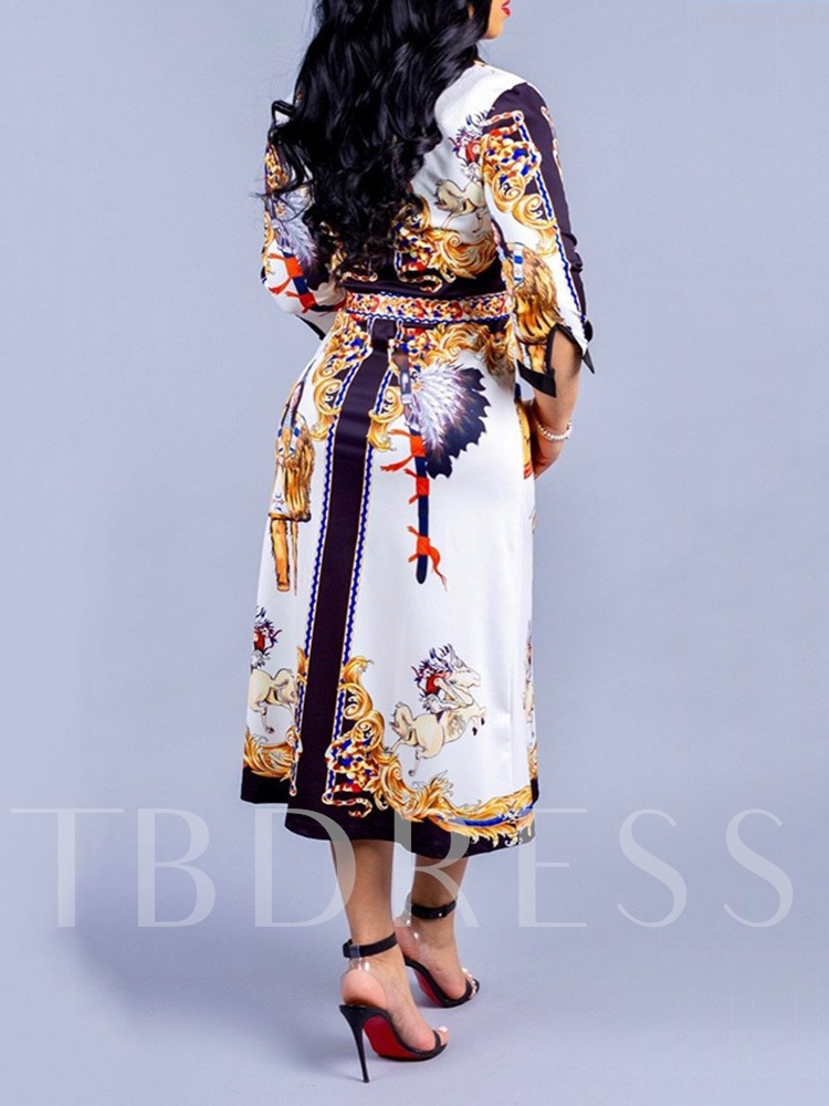 Lapel Three-Quarter Sleeve Print Mid-Calf Regular Women's Dress