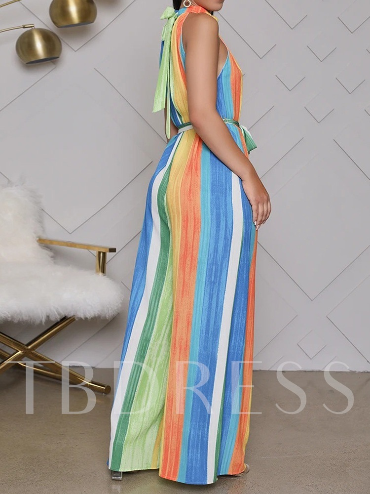 Full Length Lace-Up Color Block Simple Straight Women's Jumpsuit