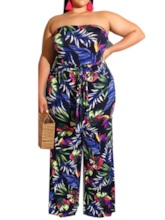 Plus Size Full Length Western Backless Plant Straight Women's Jumpsuit