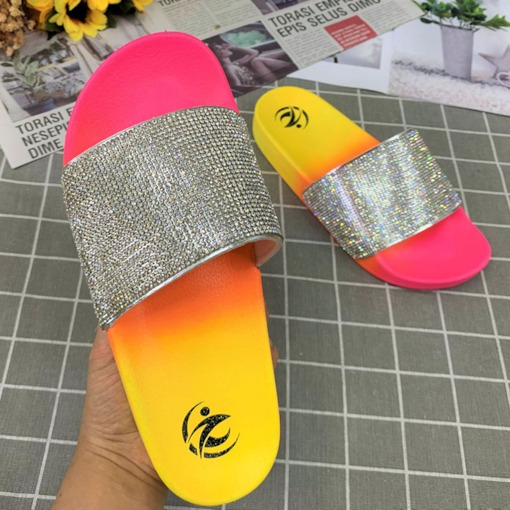 Candy Color Flat With Flip Flop Slip-On Gradient Slippers