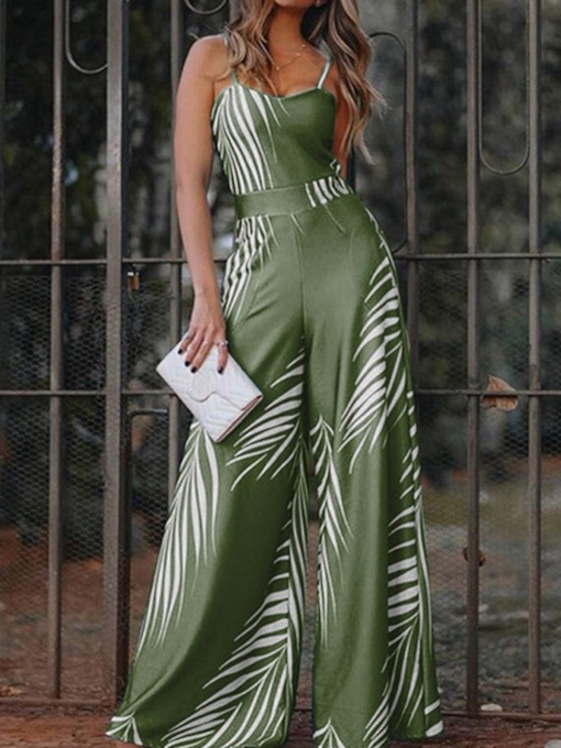Color Block Casual Full Length Wide Legs Women's Jumpsuit