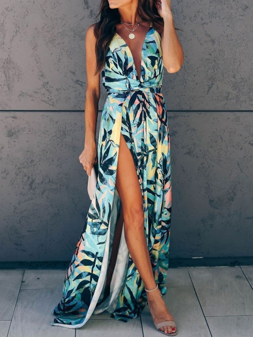 Print Sleeveless V-Neck Floor-Length High Waist Women's Dress