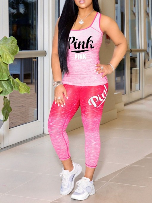 Polyester Letter Print Ankle Length Sleeveless Pullover Clothing Sets