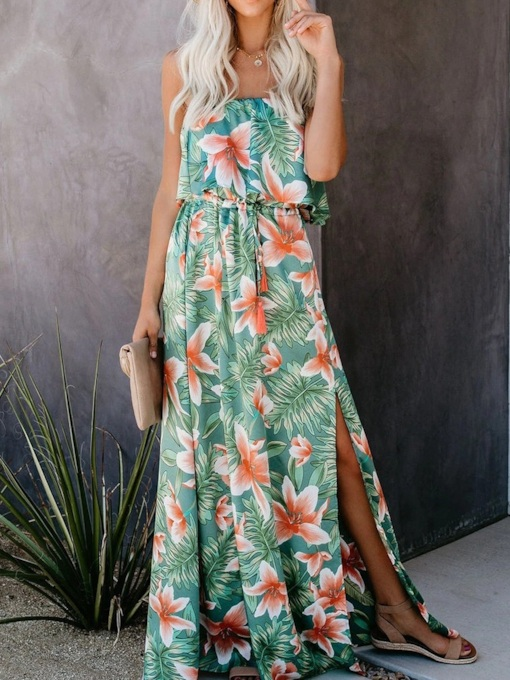 Lace-Up Sleeveless Floor-Length Floral Women's Dress