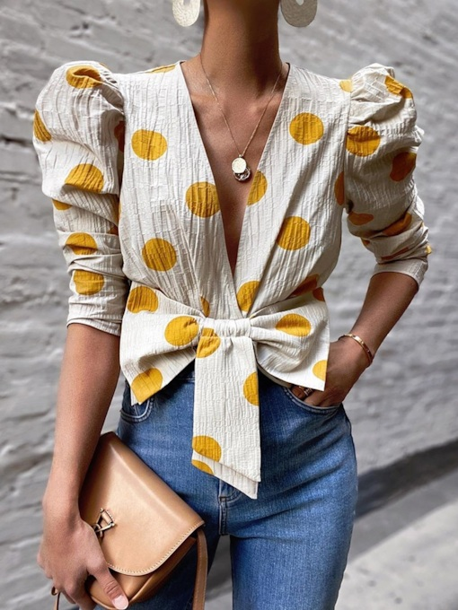 V-Neck Polka Dots Pleated Puff Sleeve Three-Quarter Sleeve Women's Blouse
