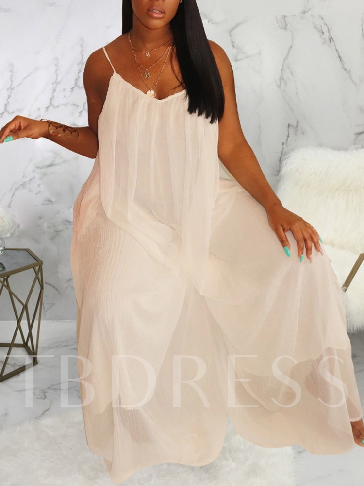 Plain Full Length Backless Sexy Loose Women's Jumpsuit
