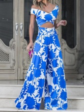 Sexy Full Length Floral Mid Waist Women's Jumpsuit