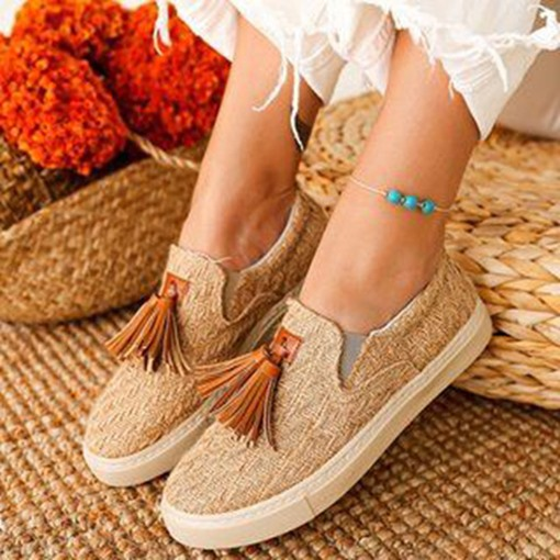 Open Toe Flat With Woven Slip-On Low-Cut Upper Thin Shoes