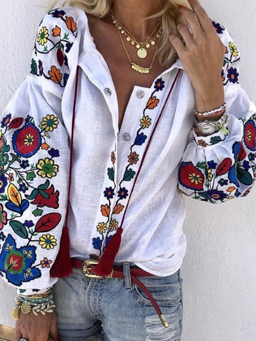 Print Lantern Sleeve Plant Long Sleeve Women's Blouse