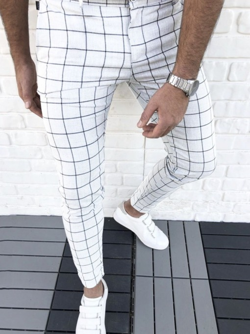 Plaid Pencil Pants Zipper Men's Casual Pants