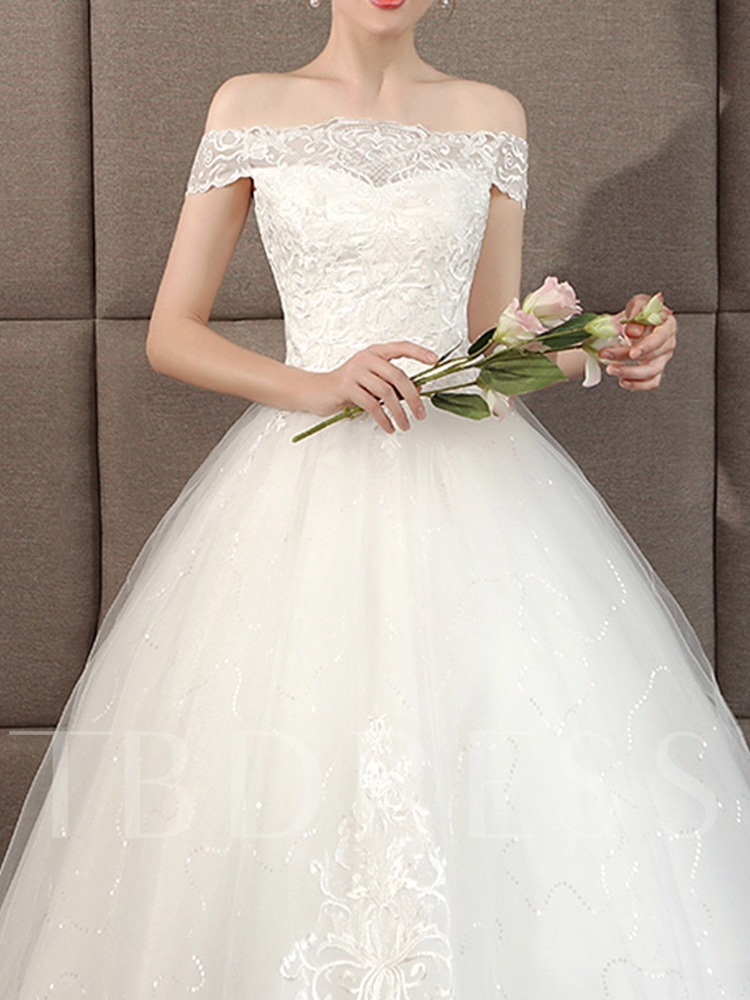 Off-The-Shoulder Lace-Up Floor-Length Ball Gown Hall Wedding Dress