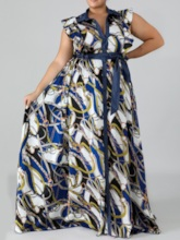 Plus Size Cap Sleeve Floor-Length Lapel Print Standard-Waist Women's Dress