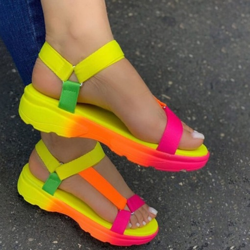 Velcro Open Toe Flat With Candy Color Sandals