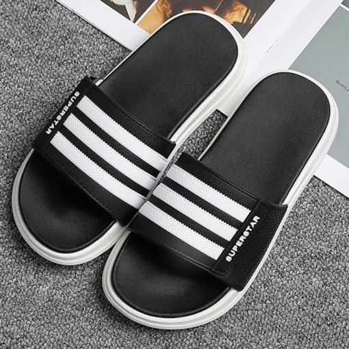 Flat With Slip-On Flip Flop Color Block Slippers