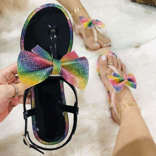 Flat With Buckle Open Toe Color Block Sandals