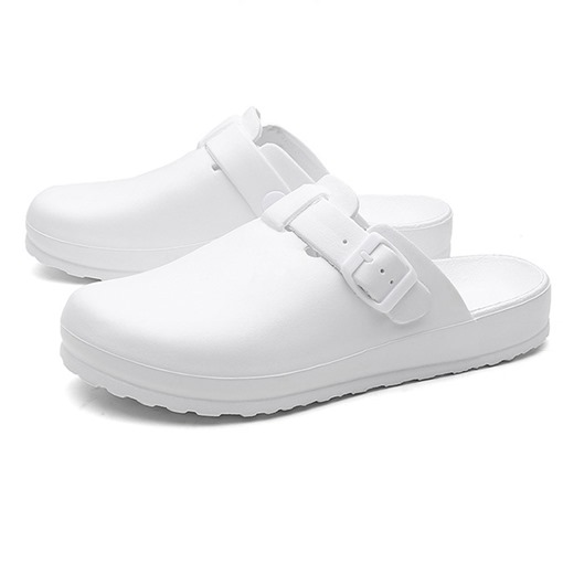 Closed Toe Flat With Slip-On Buckle Plain Slippers