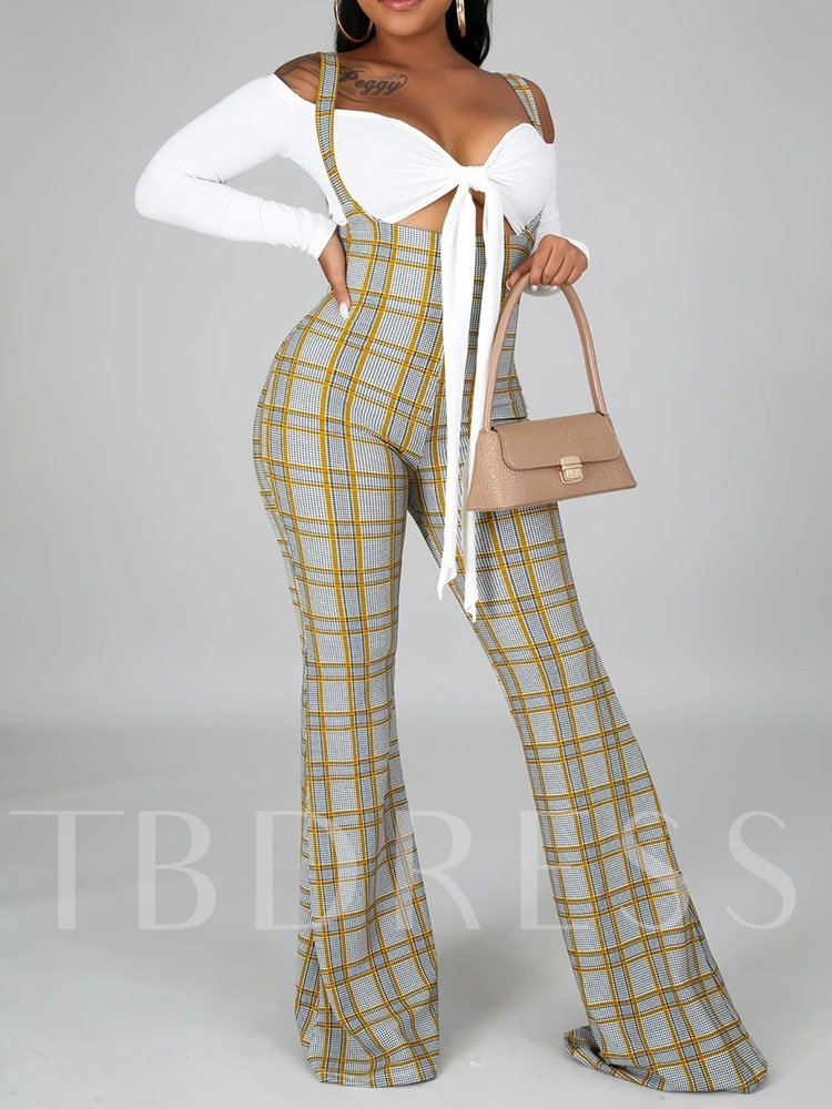 Full Length Western Strap Plaid Slim Women's Jumpsuit