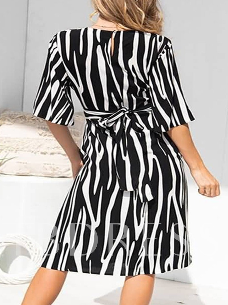 Round Neck Mid-Calf Print Half Sleeve Regular Women's Dress