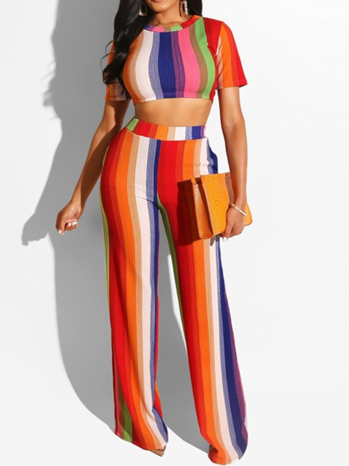 Sexy Color Block T-Shirt Pullover Women's Two Piece Sets
