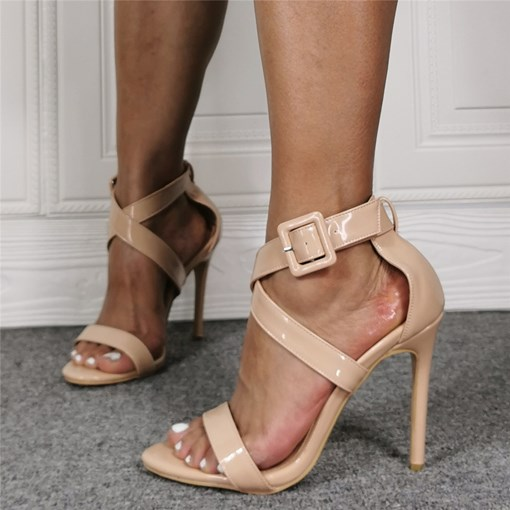PU Buckle Open Toe Sandals