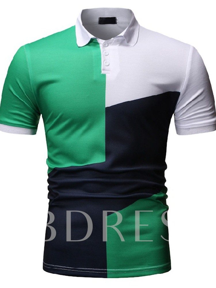 Polo Neck Color Block Men's Polo Shirt