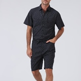 Knee Length Harem Lace-Up Stripe Casual Men's Jumpsuits Overalls