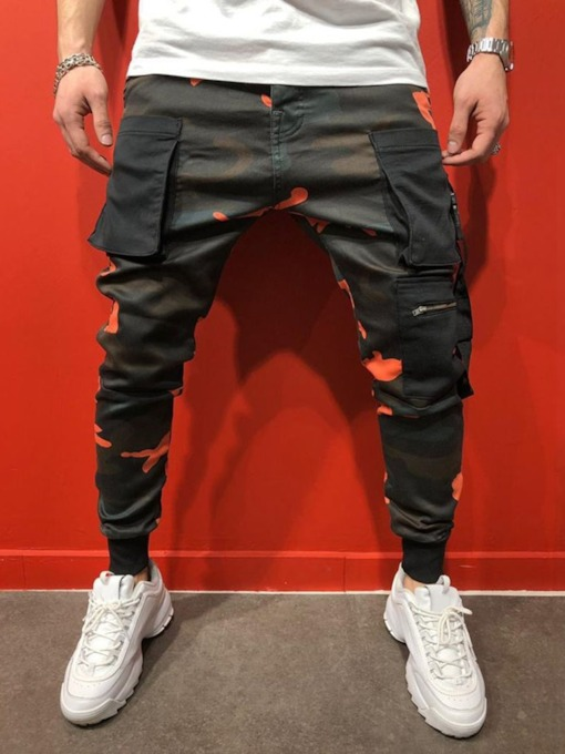 Camouflage Pocket Mid Waist Men's Casual Pants