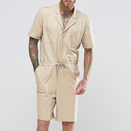 Lace-Up Plain Harem Knee Length Casual Men's Jumpsuits Overalls