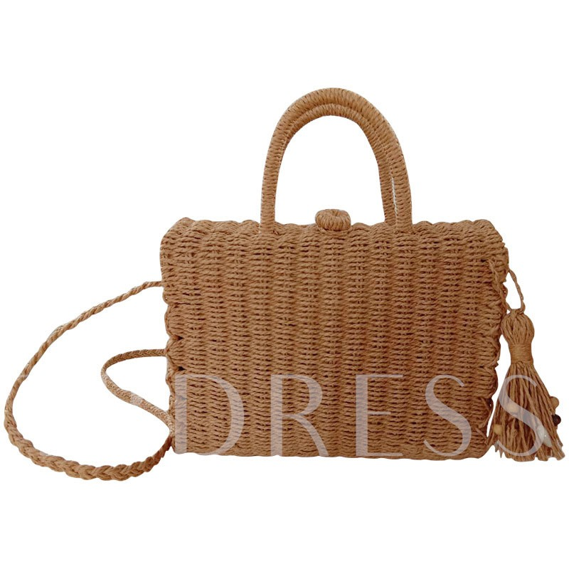 Knitted Plain Grass Flap Tote Bags