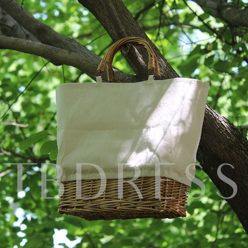 Canvas Knitted Barrel-Shaped Tote Bags