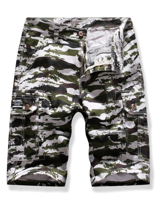 Straight Camouflage Print Casual Men's Shorts