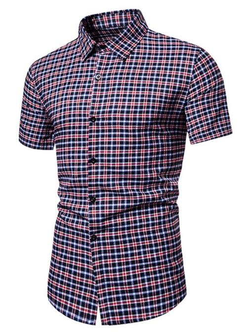 Plaid Lapel Slim Men's Shirt