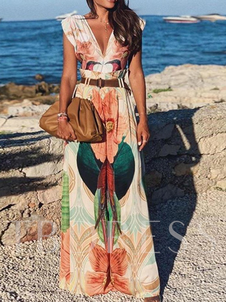 Floral Casual Full Length Print Loose Women's Jumpsuit