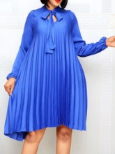 Plus Size Long Sleeve Bow Collar Knee-Length Bowknot Fashion Women's Dress