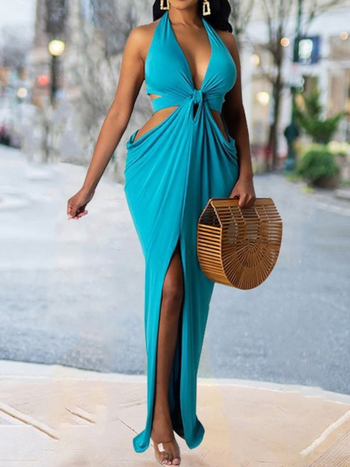 Backless V-Neck Sleeveless Floor-Length Halter Women's Dress