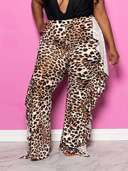 Plus Size Falbala Slim Leopard Full Length Women's Casual Pants