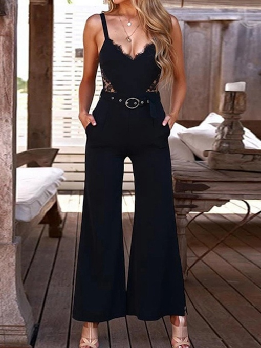 Simple Pocket Full Length Plain Wide Legs Women's Jumpsuit