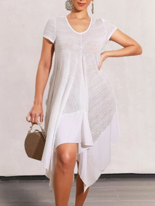 Mid-Calf Asymmetric Scoop Short Sleeve Casual Women's Dress