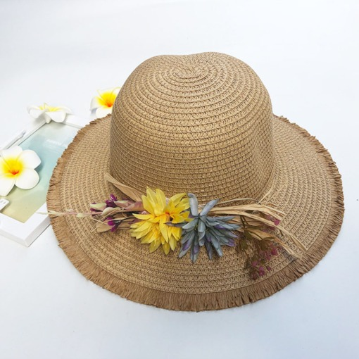 Straw Hat Sweet Straw Plaited Article Plain Hats