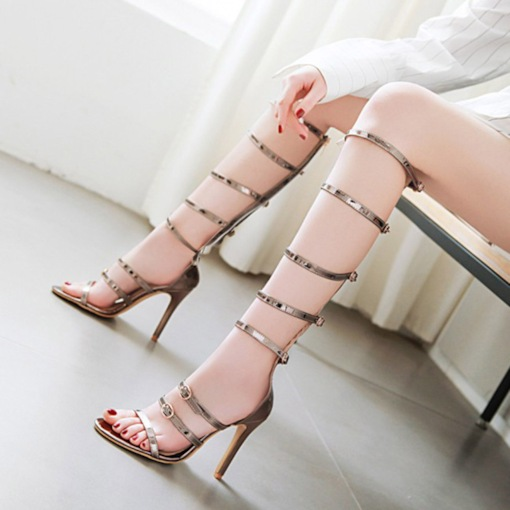 Open Toe Stiletto Heel Zipper Sweet Sandals