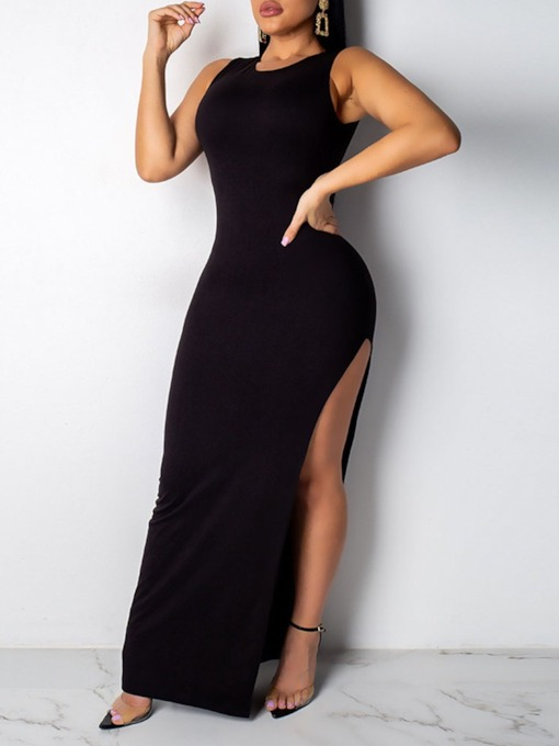 Sleeveless Floor-Length Split Round Neck Bodycon Women's Dress