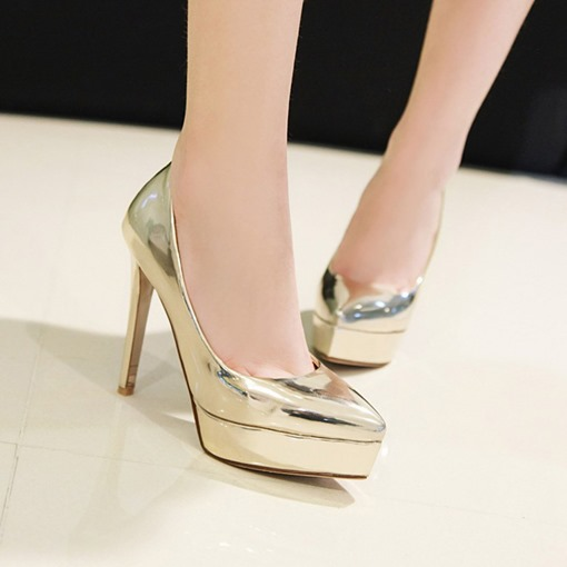 Slip-On Closed Toe Stiletto Heel Platform Sweet Thin Shoes